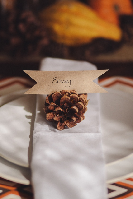 Pine cones are simple and free if you live anywhere near a pine tree.  Use craft paper to create a name ribbon for your guests.  Source