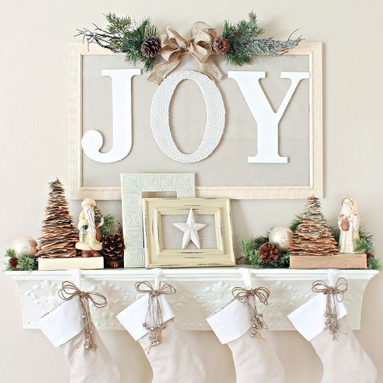 From a floating shelf--I love this one because you can create a mantel effect. So pretty!