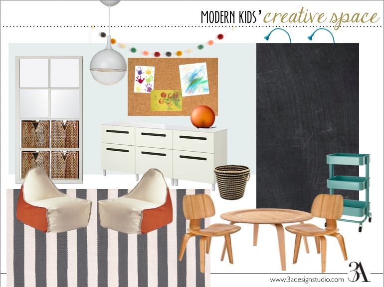 modern kids' creative space moodboard