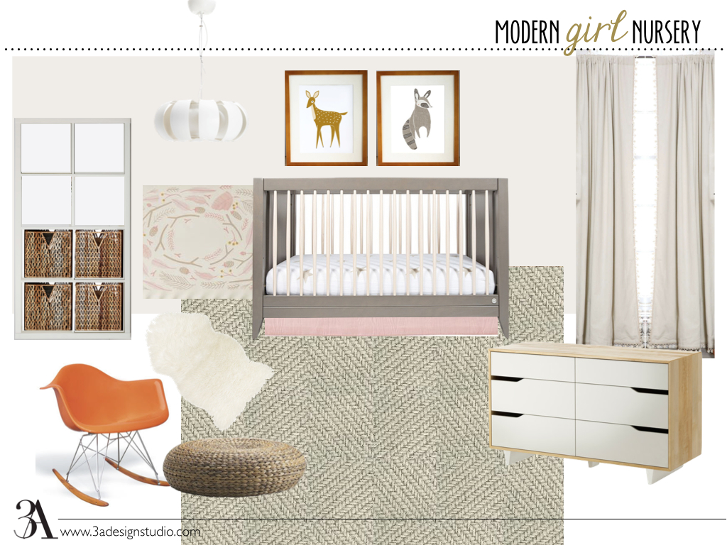 modern girl nursery moodboard