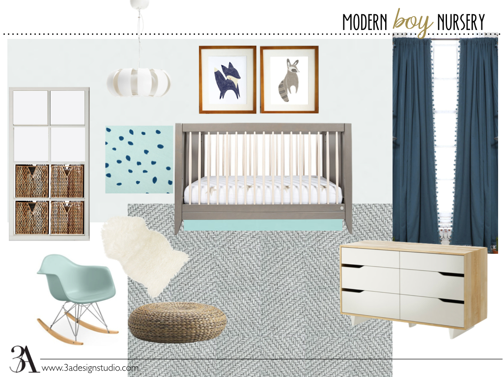 modern boy nursery moodboard