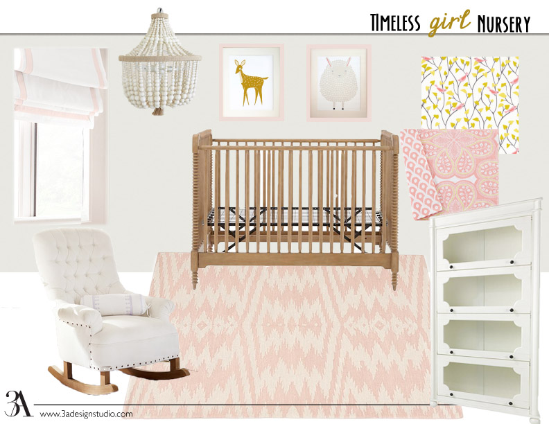 timeless girl nursery design