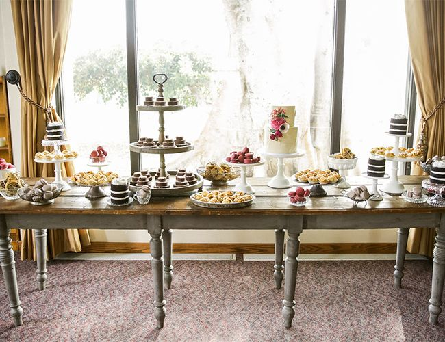 Think small.  Even a small gathering can have a big look if you make everything mini--like these desserts at Desiree Hartsock's wedding shown on  Inspired by This .  Think mini cakes, mini banana puddings, macaroons, etc.