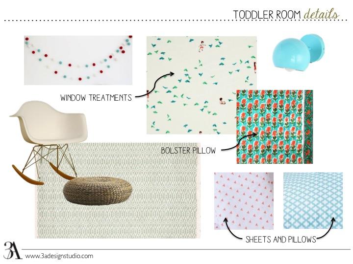 garland  //  window fabric  //  eyeball sconce  //  rocker  //  footstool  //  rug  //  bolster fabric  // coral fabric  //  aqua fabric