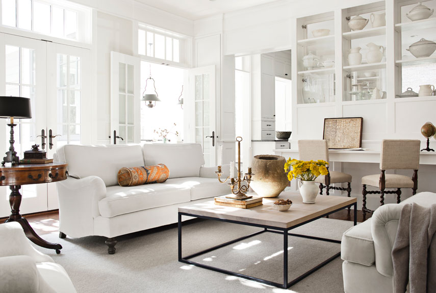A traditional white living area.