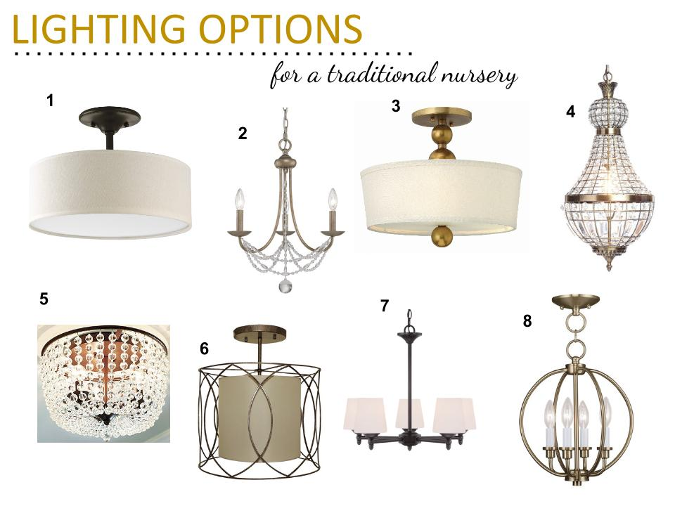 traditional nursery lighting options