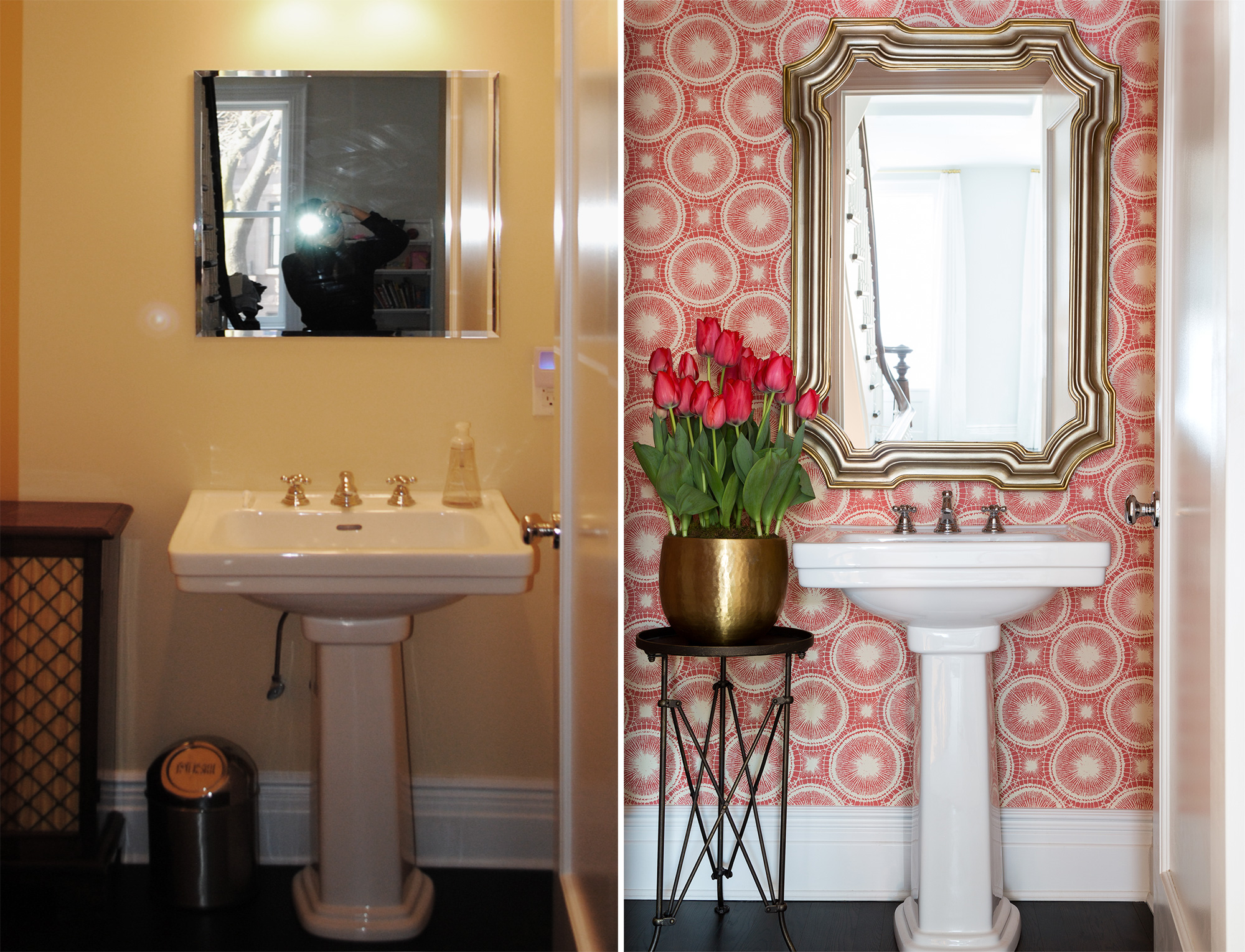 New wallpaper and mirror and your powder room is transformed.