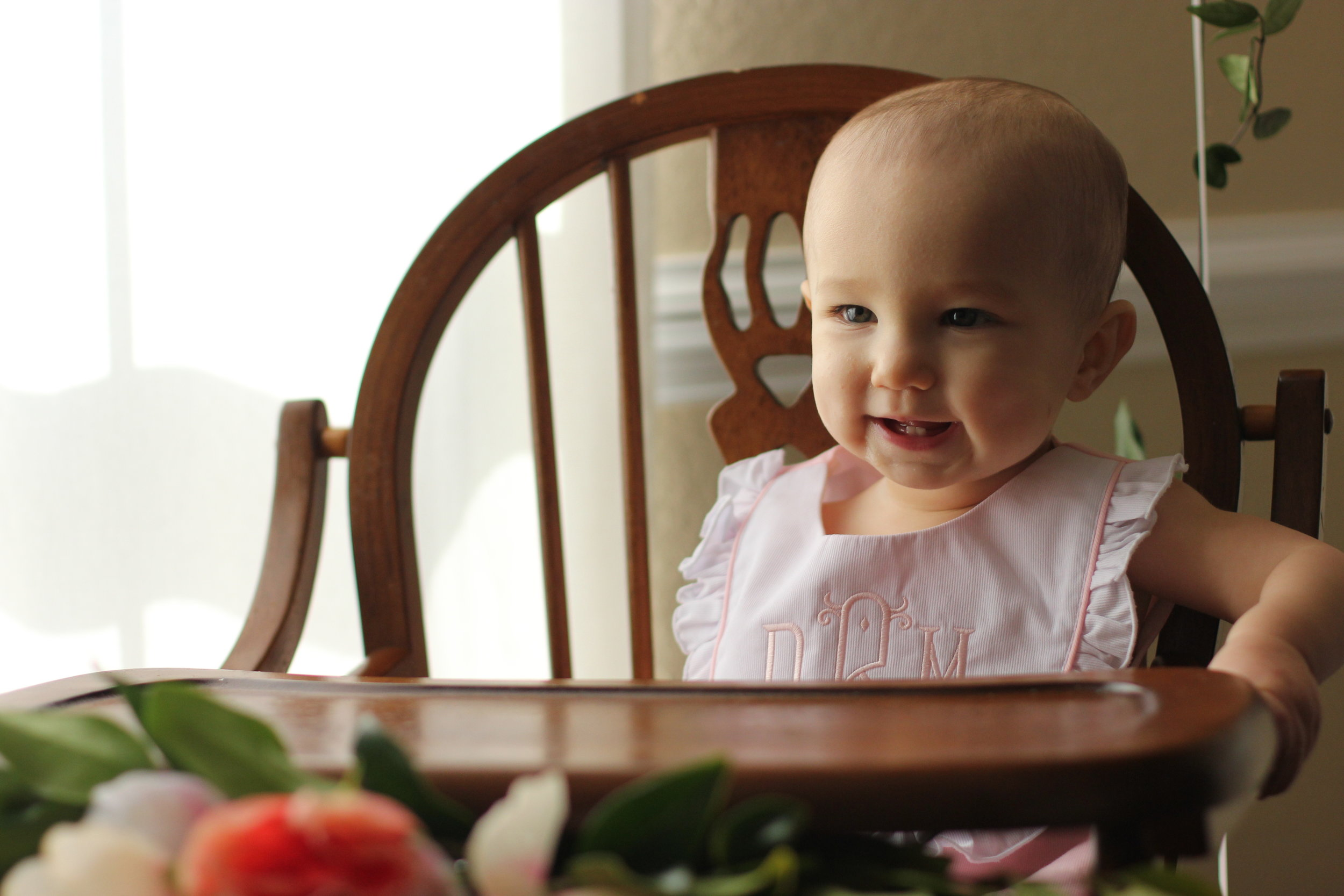 floral first birthday wooden highchair