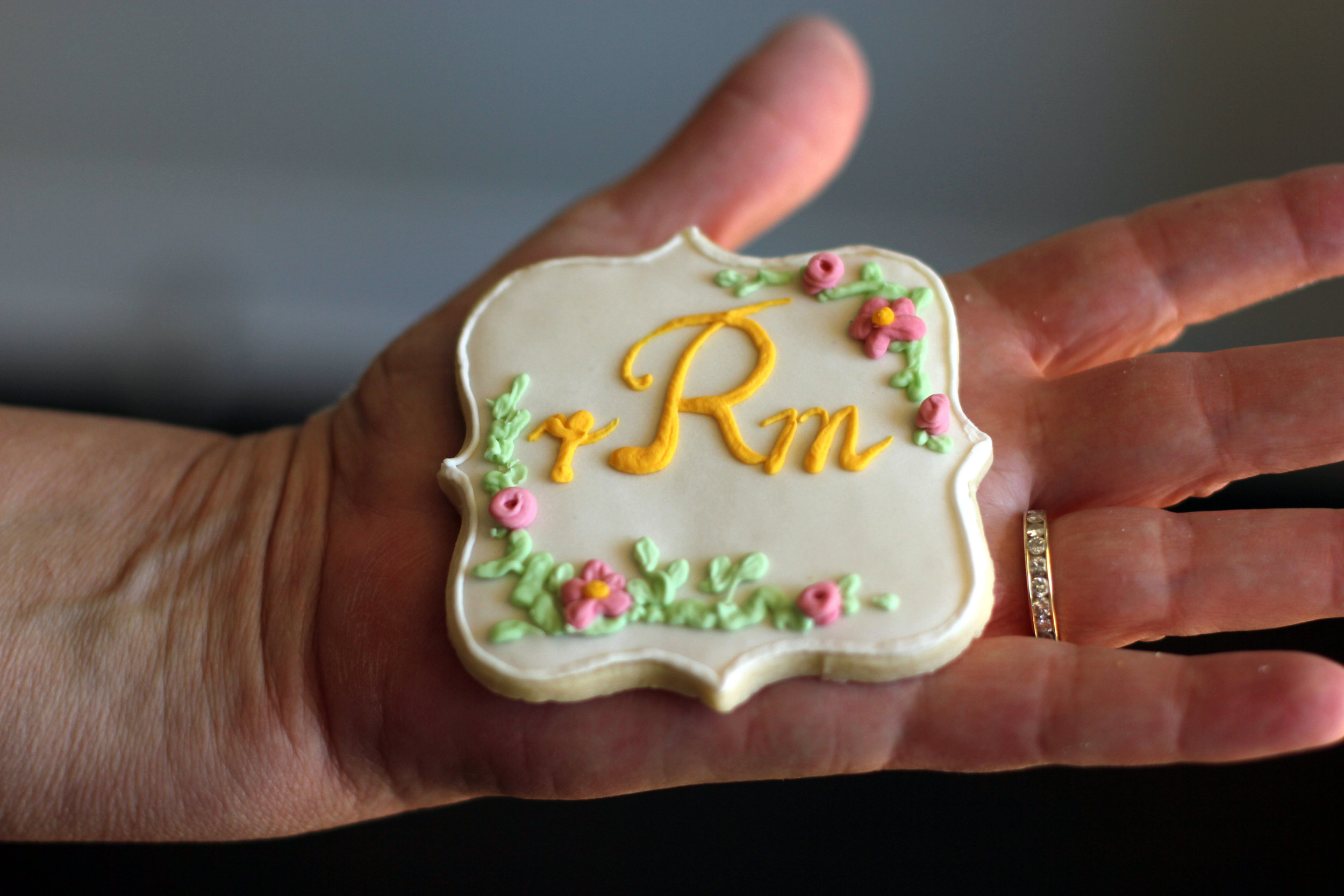 floral sugar cookie with monogram