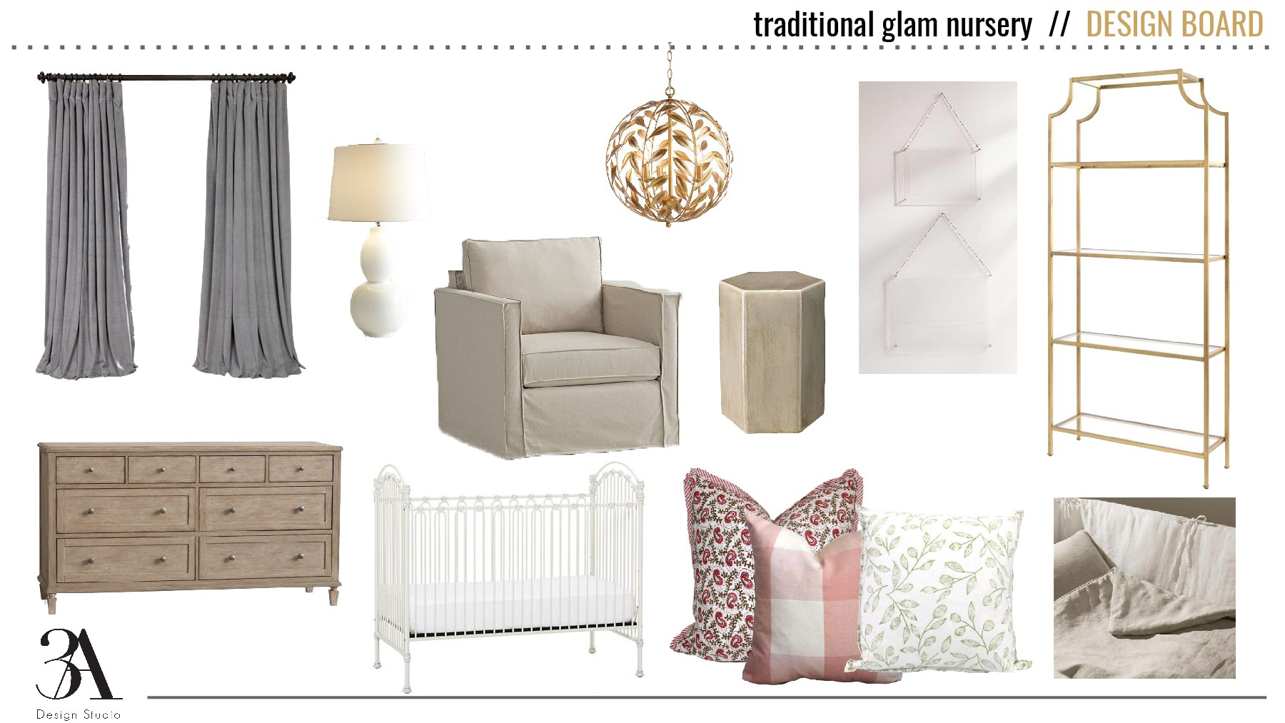 traditional glam girl nursery by 3a design studio