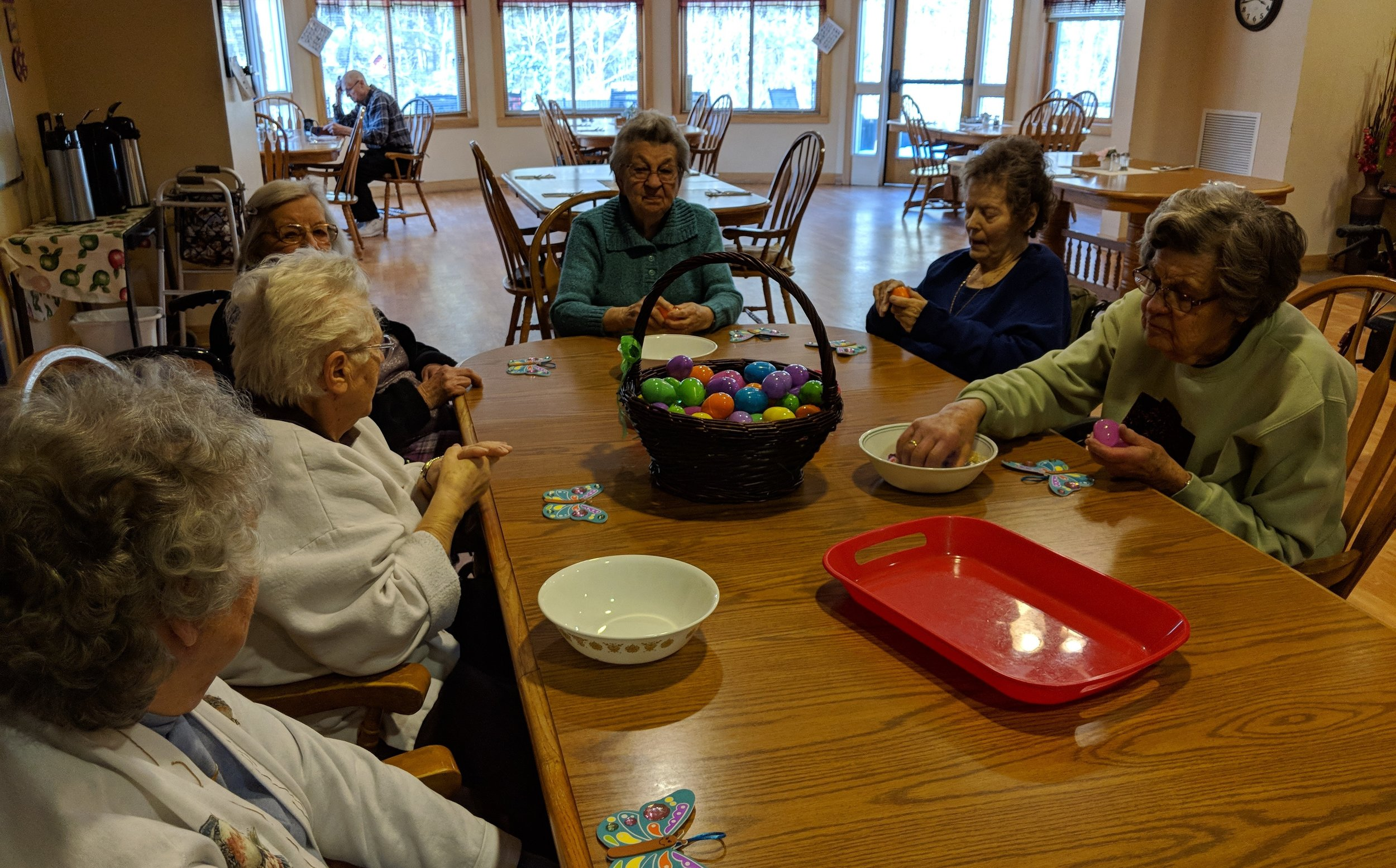 Tenants are busy filling Easter eggs.jpg