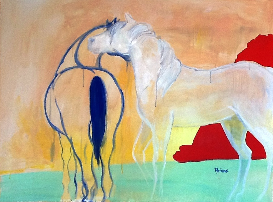   BLUE AND WHITE HORSES WITH YELLOW AND RED