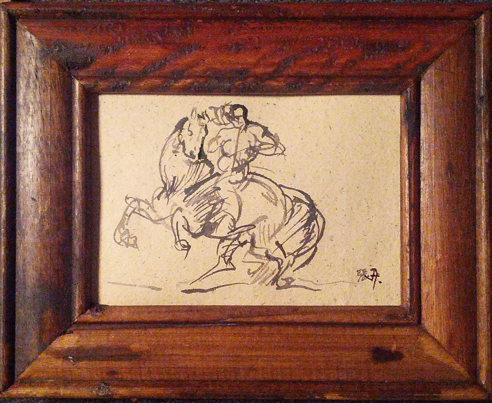 Sketch of Man on Horse, after Gericault