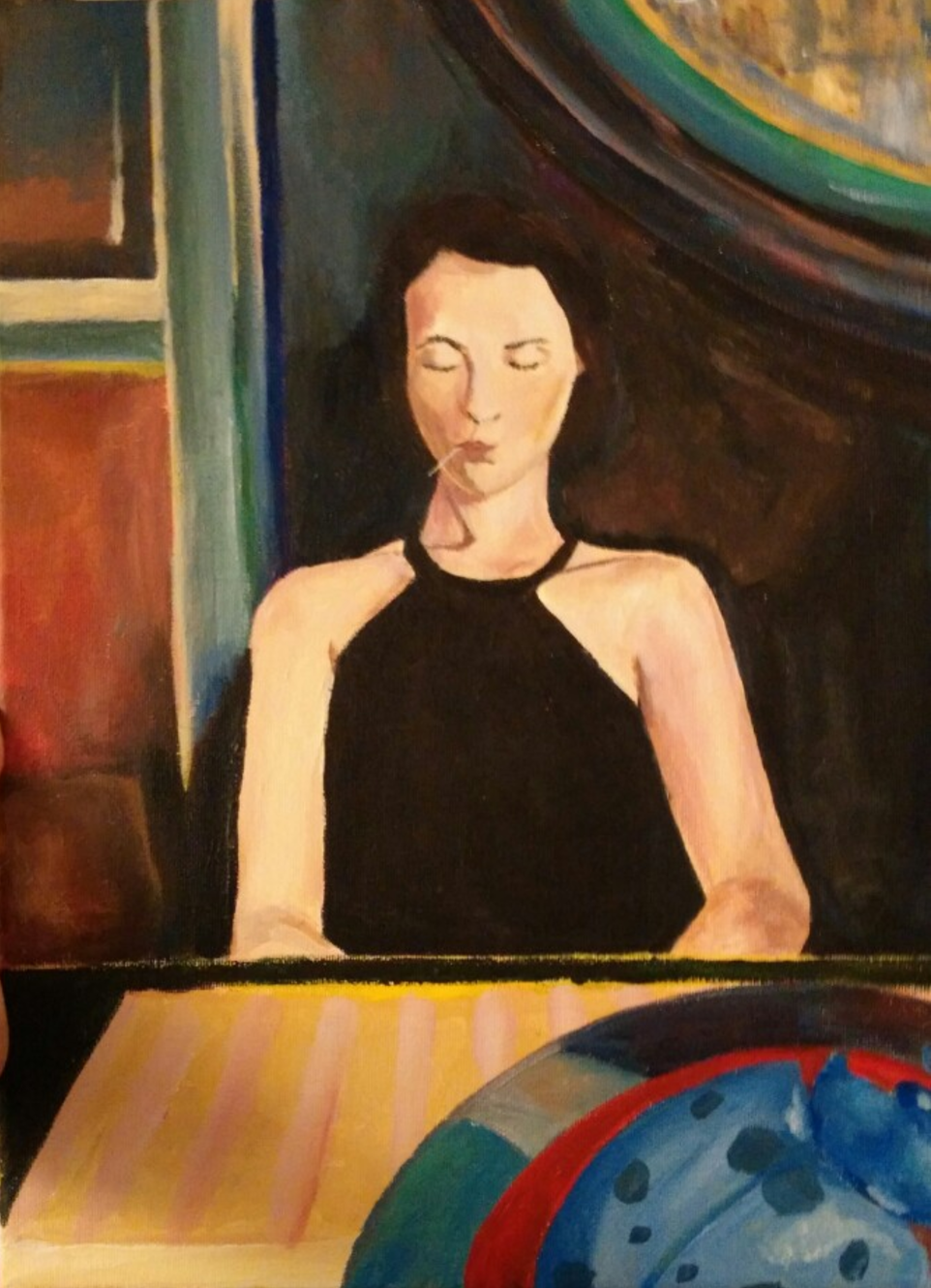 Woman with Toothpick 2014 Acrylic on canvas