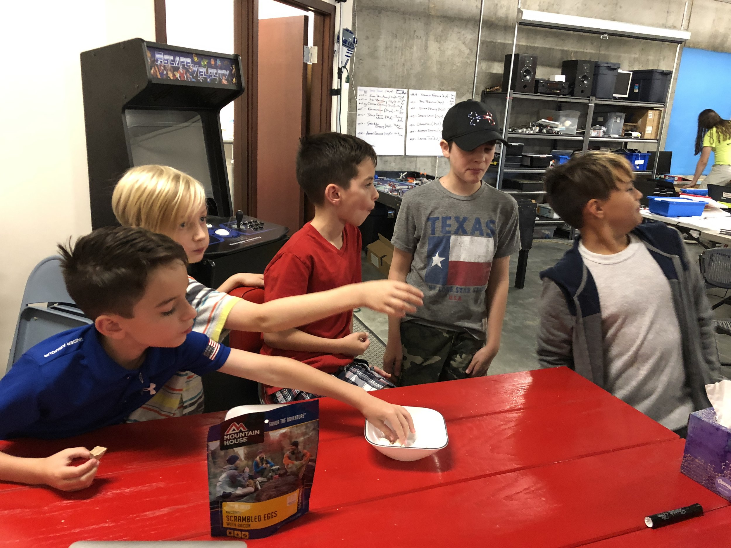 "Astromechs FLL 2018-19 trying ""Astronaut Ice Cream"" and ""Space Strawberries"""