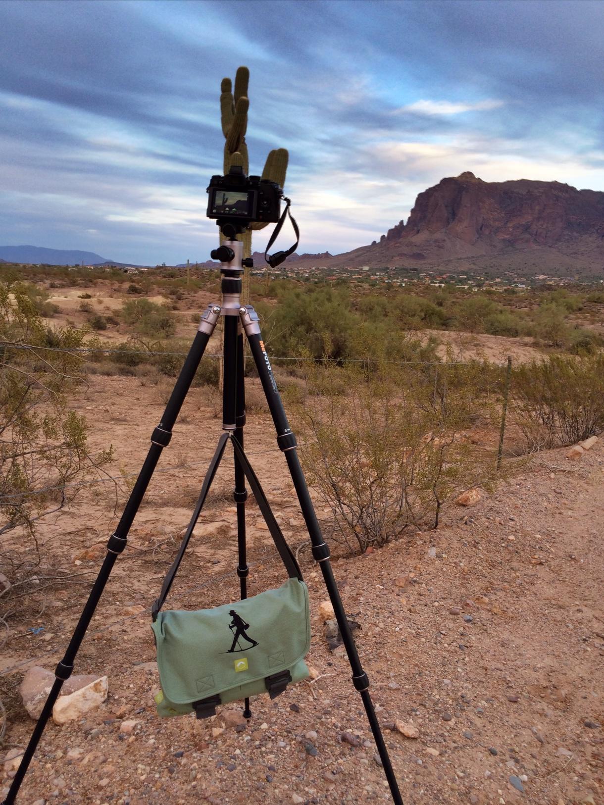 Mike Boening's Walking Man Shoulder Bag in Arizona.