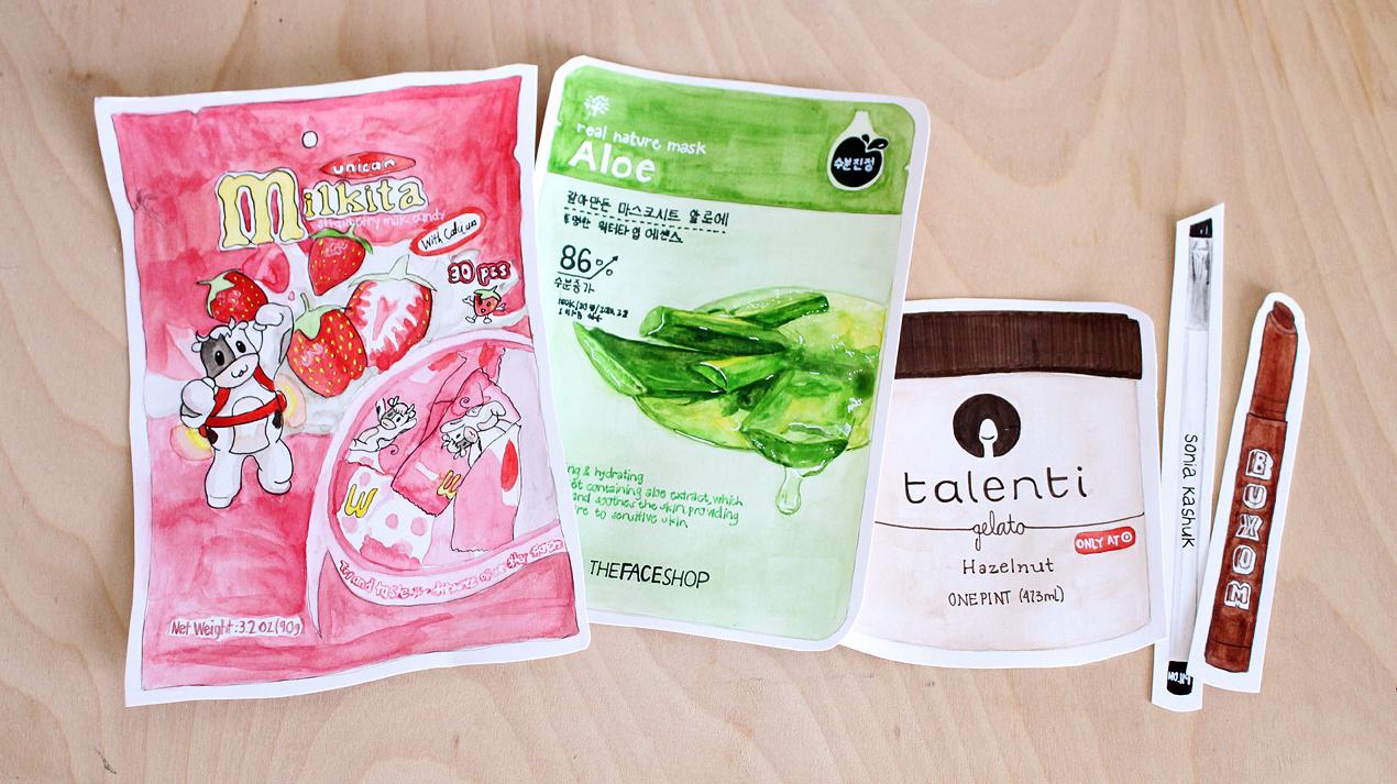 Milkita Strawberry Milk Candy, The Face Shop's Aloe sheet mask, Talenti Hazelnut Gelato, Sonia Kashuk Angled Brush and Buxom Lip Foundation in Revealed