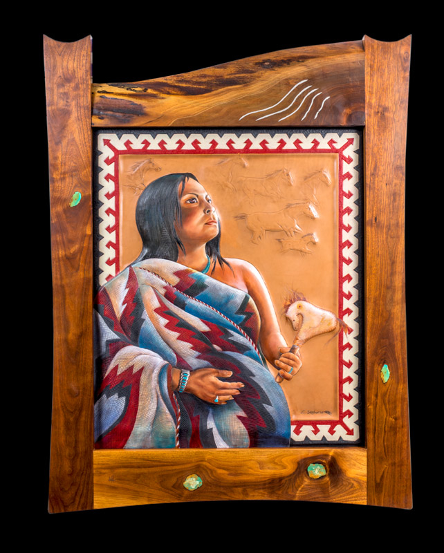 """Expecting""                        ""28 X 32""            $10,000           oil on leather            *SOLD*                  (   36"" X 48"" outside dimensions of custom walnut frame inlaid with tu  rquoise and silver  )"