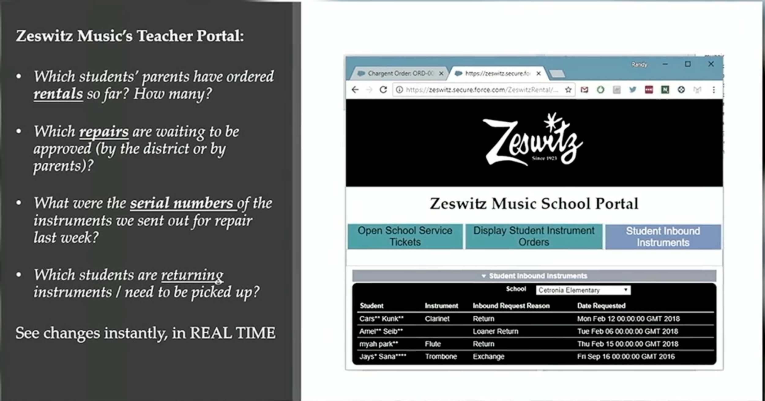 Preview of the Zeswitz Music School Portal, the platform that earned Zeswitz Music the 2019 NAMM Innovation Award.