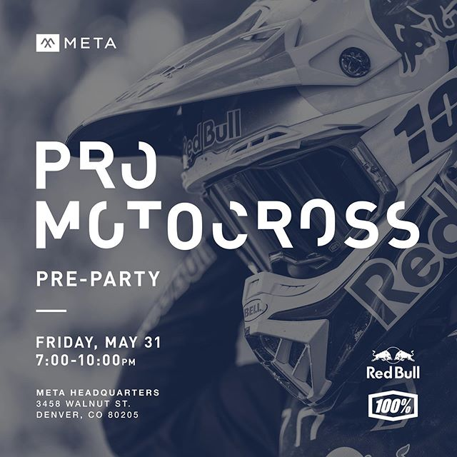 Pro motocross is coming to @thundervalleymx next weekend and we are hosting a pre-party with @redbull and @ride100percent at @metadenver!  Kick off the race weekend with some good times and great people.  Free drinks including signature Red Bull cocktails and beer from our friends at @805beer.  We will have the fire pit burning out back, @pastyrepublic food truck will be serving up delicious bites, and we will have some pit bike fun on the mini-moto track.  See you there!  Photo by @stoo  #readmeta #ALifeWellRidden