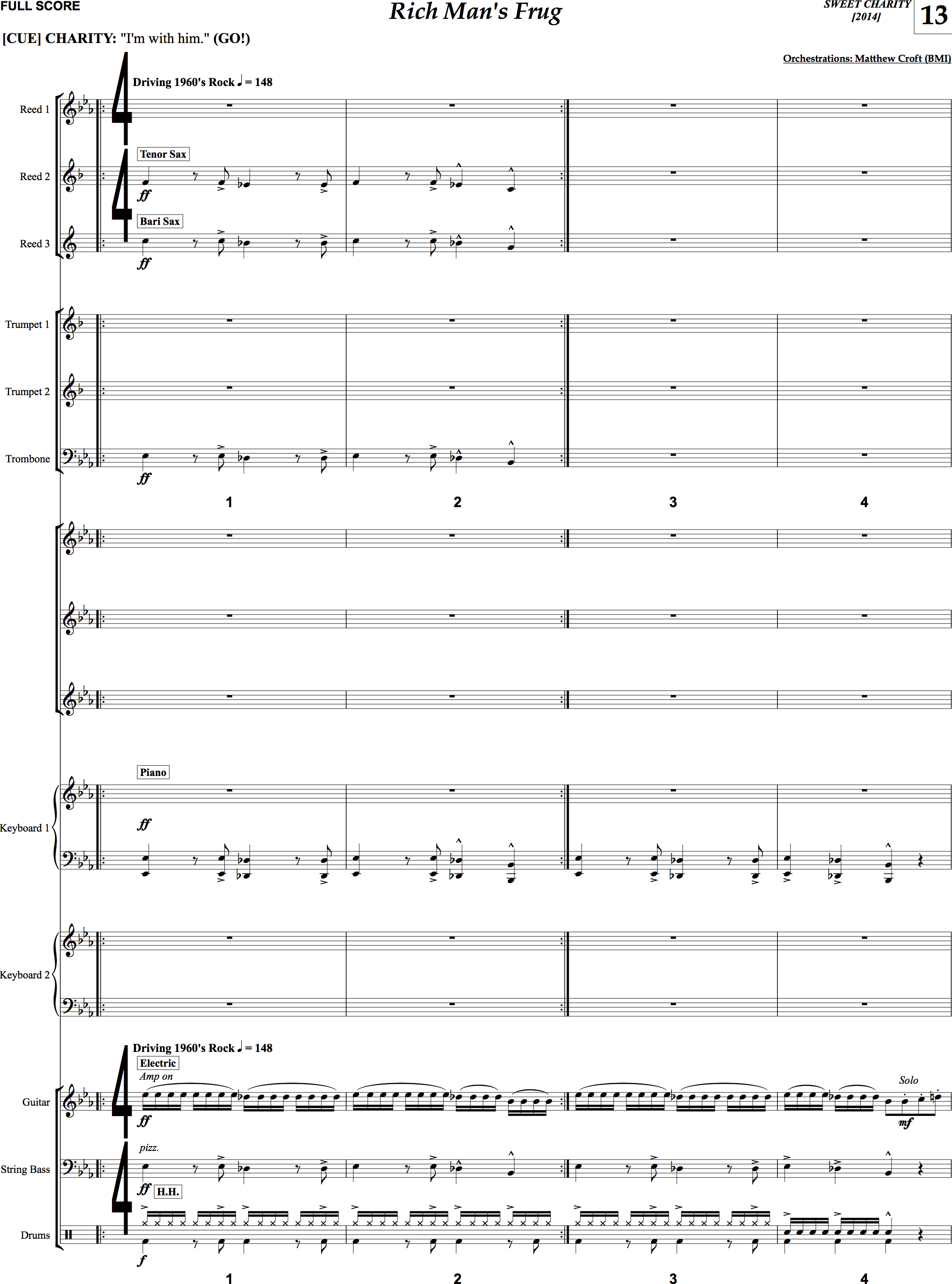 """A page of the new conductor's score for """"Sweet Charity"""""""