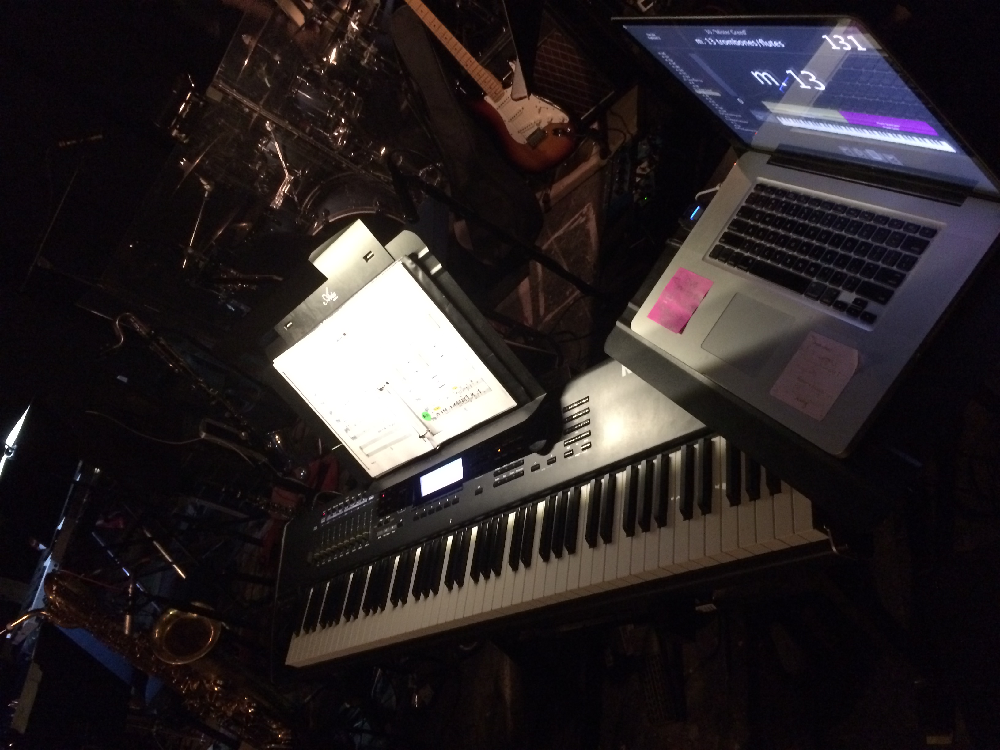 Keyboard rig before the show