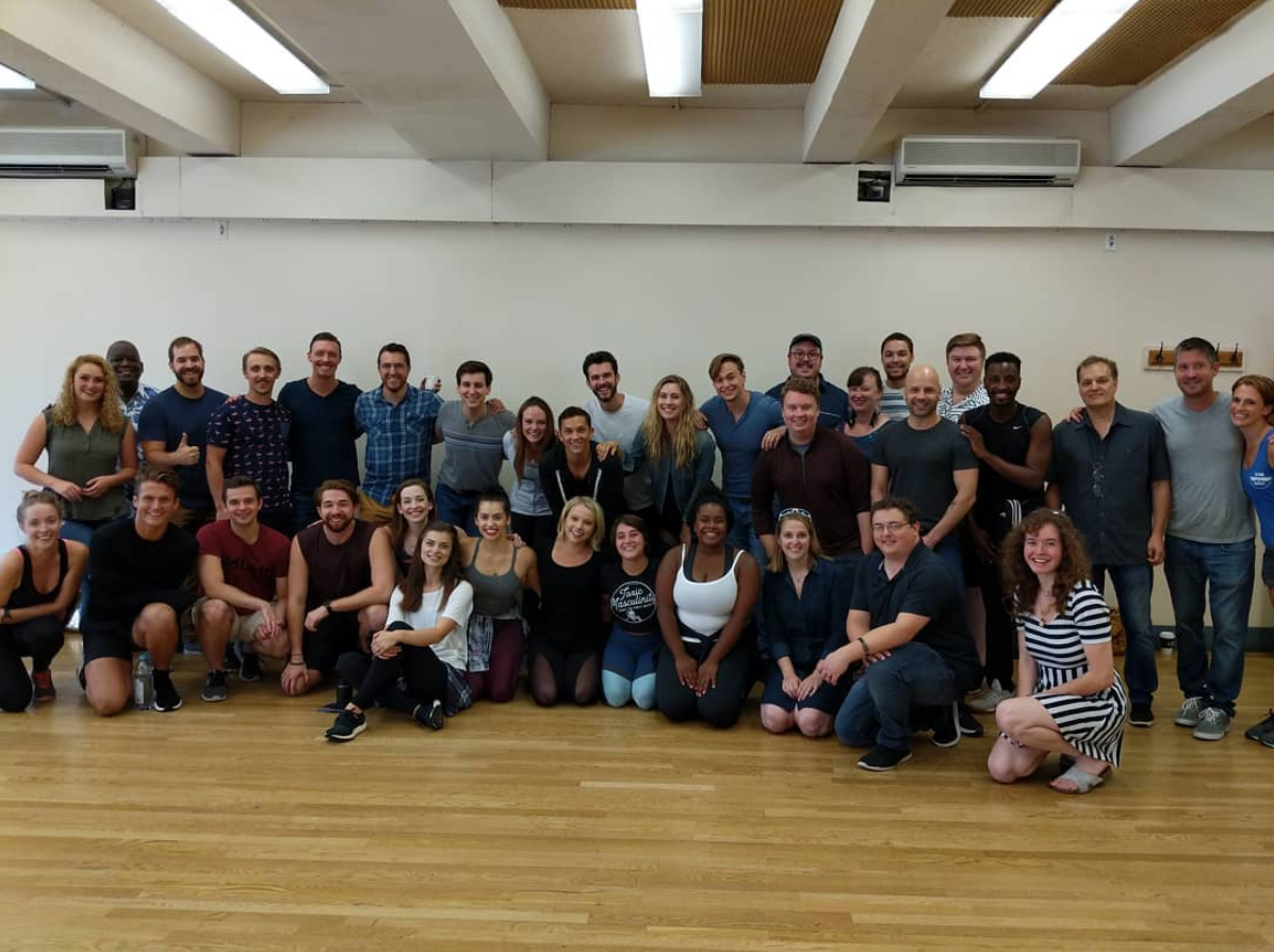 "The cast, crew, & creative team at the first day of rehearsals for the 2018-2019 ""Something Rotten!"" National Tour!"