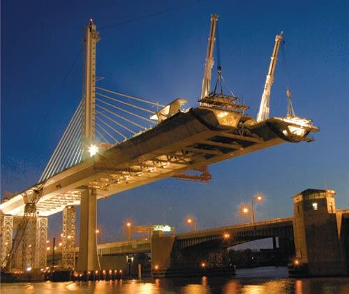 The Toledo Skyway Bridge During Construction   Courtesy of ODOT