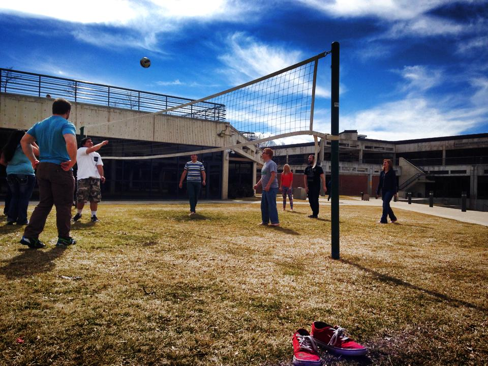 Volleyball in the courtyard