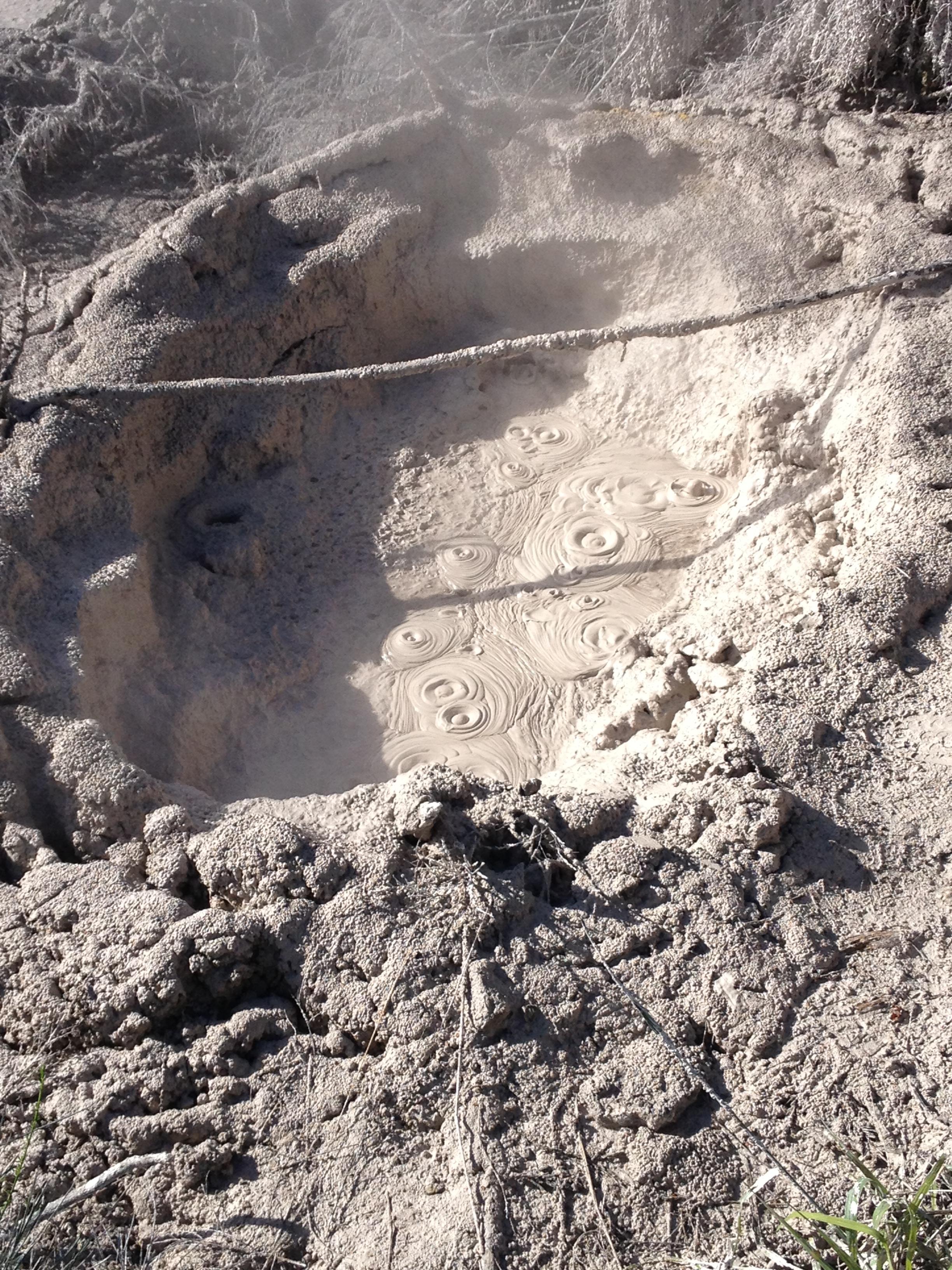 Bubbling mud pools