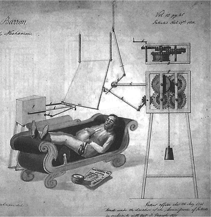mechanically powered punkah patented by virginia inventor and u.s. naval commodore james barron in the 1830s.