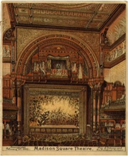interior view of the madison square theater completed in 1880, that used ice and Srurtevant cnetifrugal fans for cooling and ventilation during the summer months.