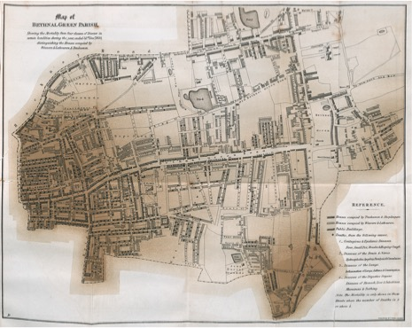 "mapping health and miasma. ""map of Bethnal Green Parish"" in Edwin Chadwick's ""Report on the sanitary conditions of the labouring population of great Britain,"" 1842."