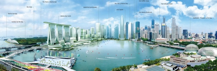 A rendering of the new and old downtown of Singapore around Marina bay by Urban redevelopment board, the state planning agency of Singapore.
