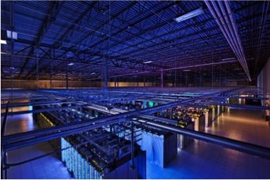 An interior view of google's data center at council bluffs, iowa.