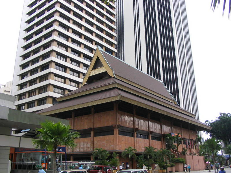 a malay house on STEROID in Kuala lumpur that serves as the banking hall of a local bank headquarter building.