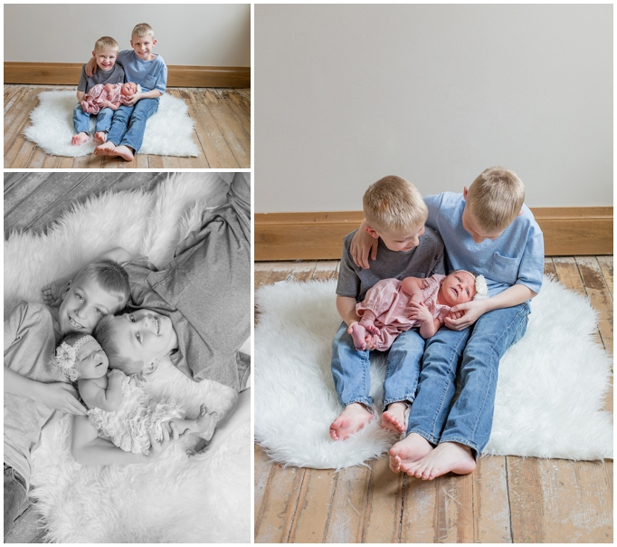 siouxfallsnewbornphotographers.com  Sioux Falls South Dakota Newborn Photographers  Sioux Falls Baby Pictures  Little girl with big brothers pictures  Ann DenBoer Cory Davis  studiofotografie  studiofotographie  lifestyle and modern newborn