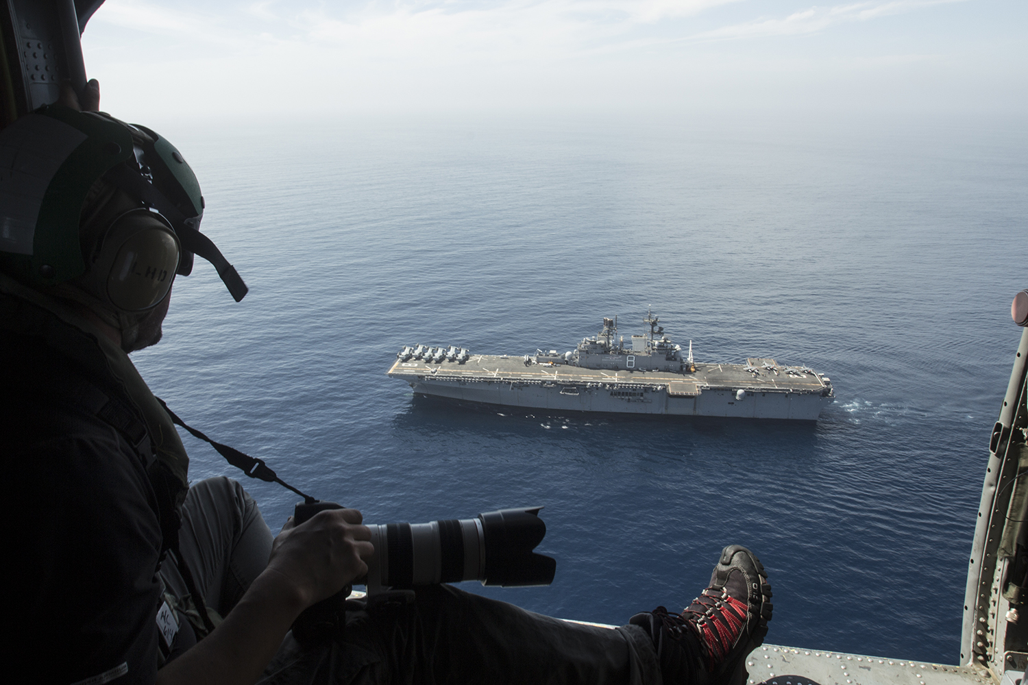 Shooting aerials above the USS Makin Island for  Smithsonian Air and Space Magazine.