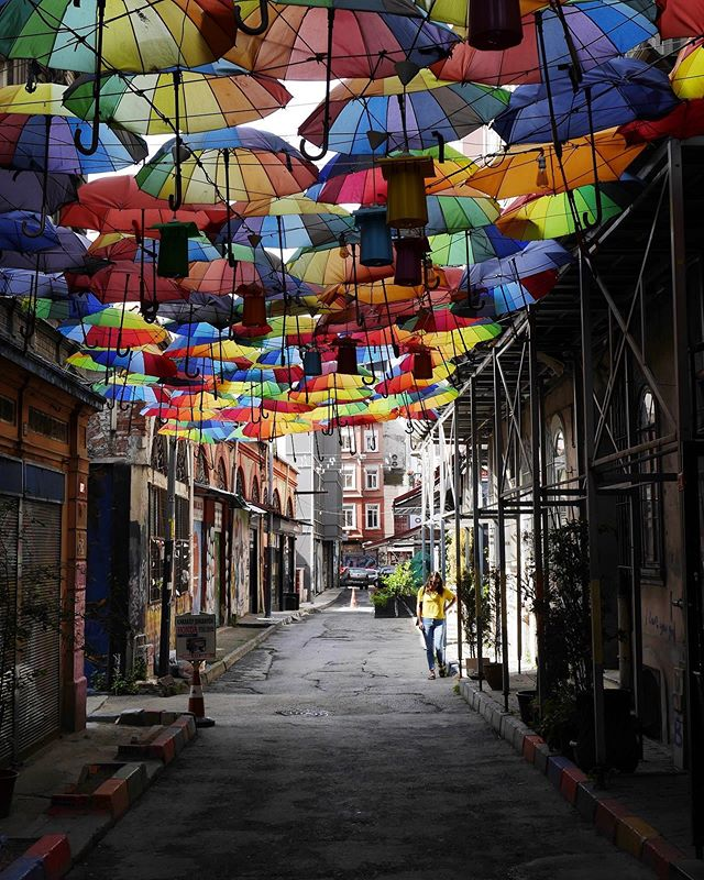 Exploring the streets of Istanbul and discovering a sea of umbrellas.