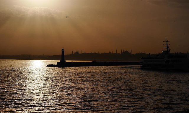 Sunset ferry in Istanbul.