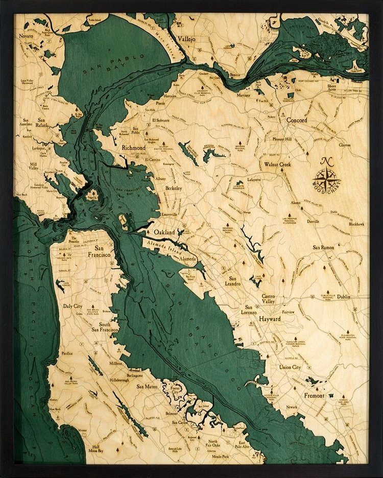 San Francisco Bay Area Ca Large 3d Wood Maps Bella Maps Show trails in joaquin miller park. san francisco bay area ca large 3d wood maps bella maps