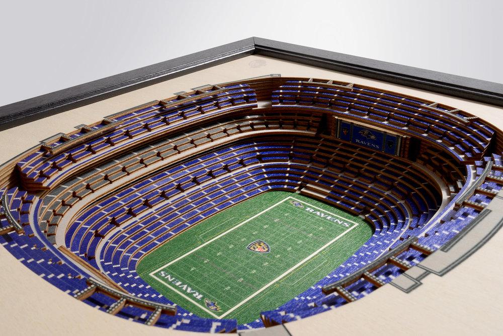 Baltimore Ravens M T Bank Stadium 3d Wood Stadium Replica 3d Wood Maps Bella Maps