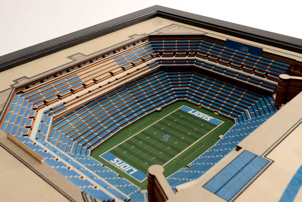Detroit Lions Ford Field 3d Wood Stadium Replica 3d Wood Maps Bella Maps