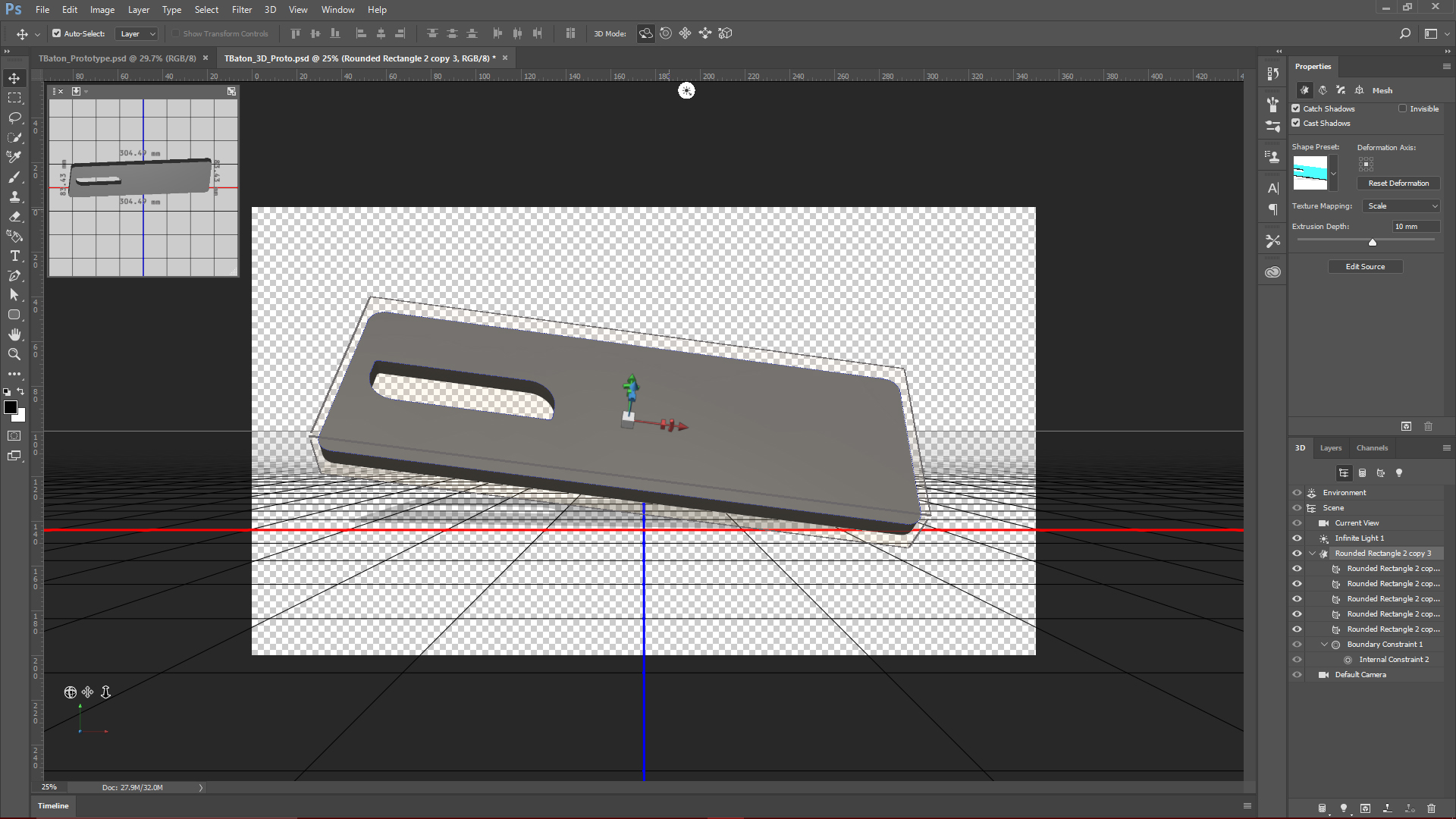 Initial 3D design and render for the Task Baton