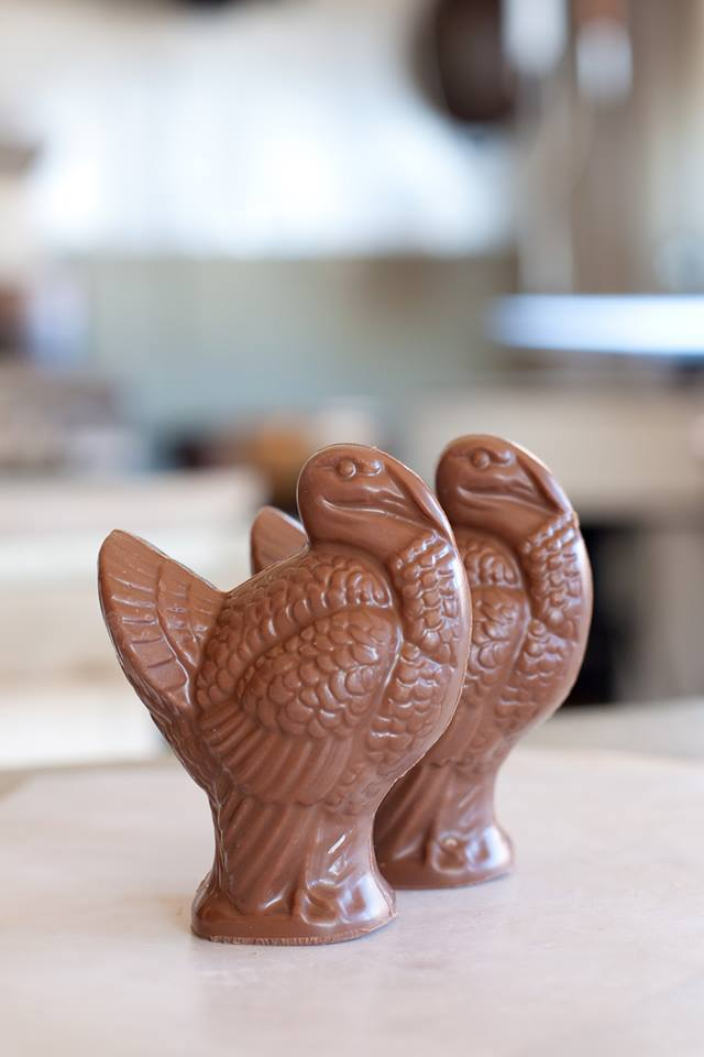 Specially made chocolate shapes available ~Chocolate 'turkey' shown