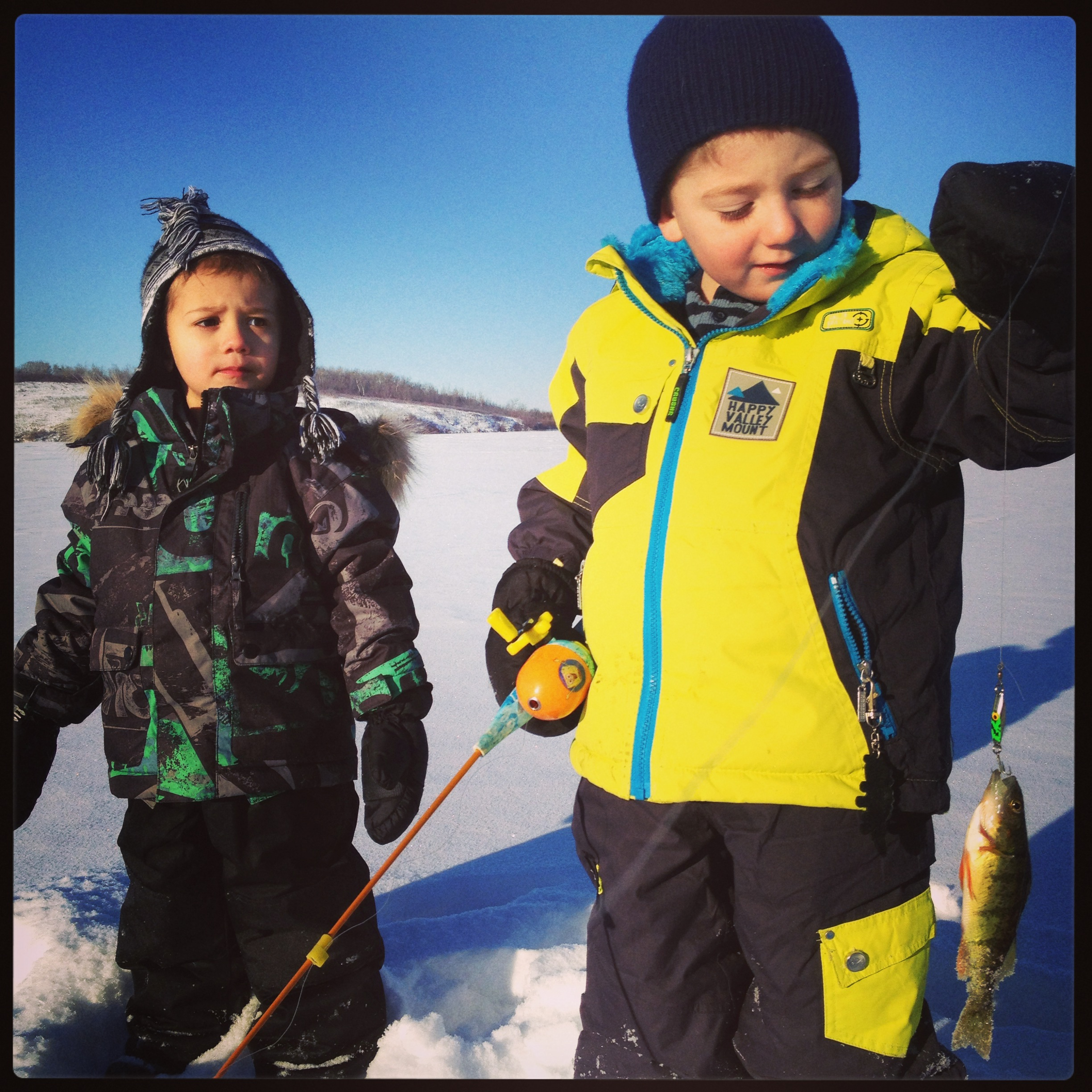 Quinn and Ryder fishing