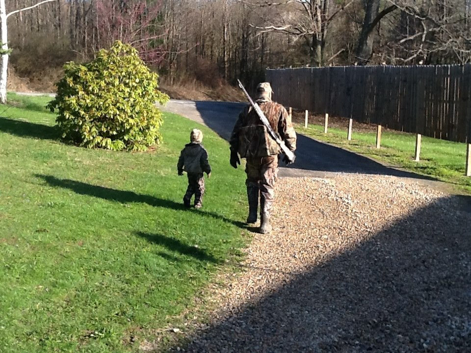 Levi and Dad Eric heading out together