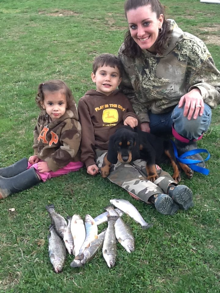 Tessa, Levi, Pup Trigger, and Mom Amanda