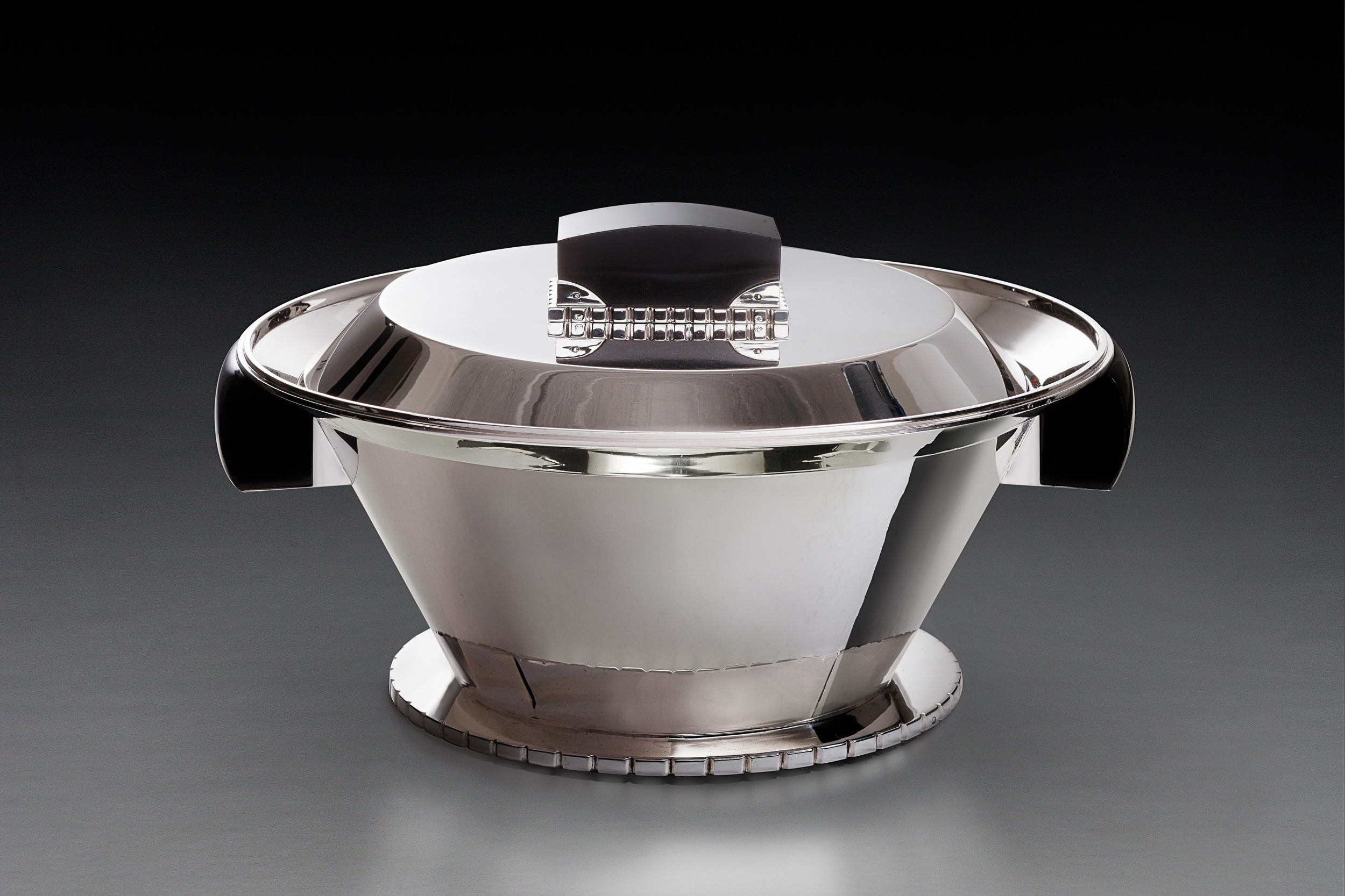 ART DECO    JEAN PUIFORCAT   A Silver and ebonite centerpiece  Paris, circa 1930