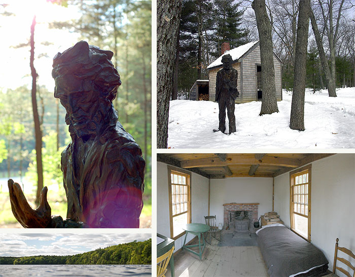 Walden Pond, a monument to Thoreau, and the replica of his cabin